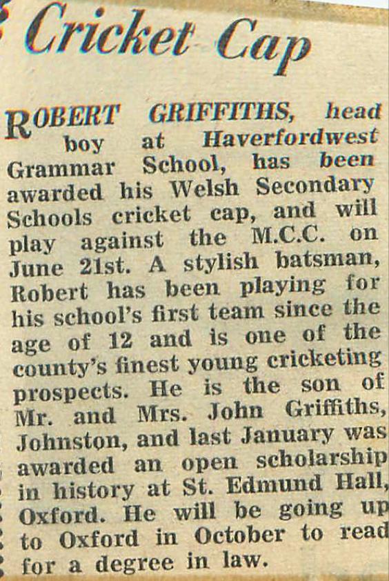 Robert Griffiths QC, Cricket Captain